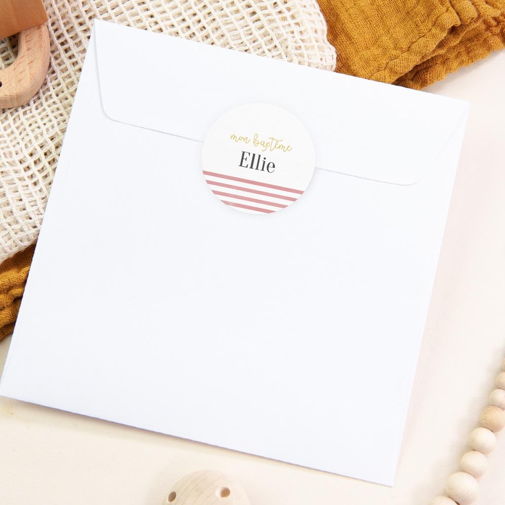 Sticker Enveloppe Baptême Marinière Fille, 4,5 cm pas cher