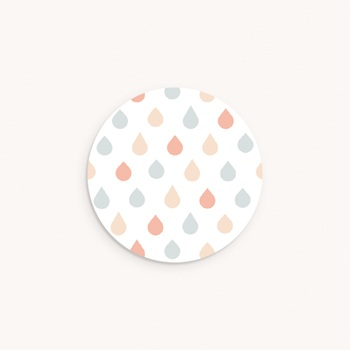 Sticker Enveloppe Baptême Nuage et Gouttes Pastel