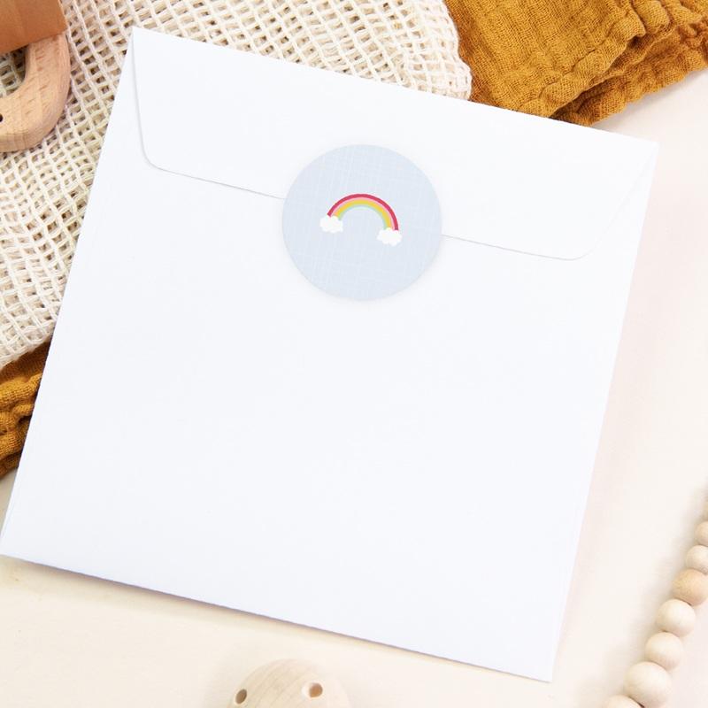 Sticker Enveloppe Baptême Happiness - Arc en ciel pas cher