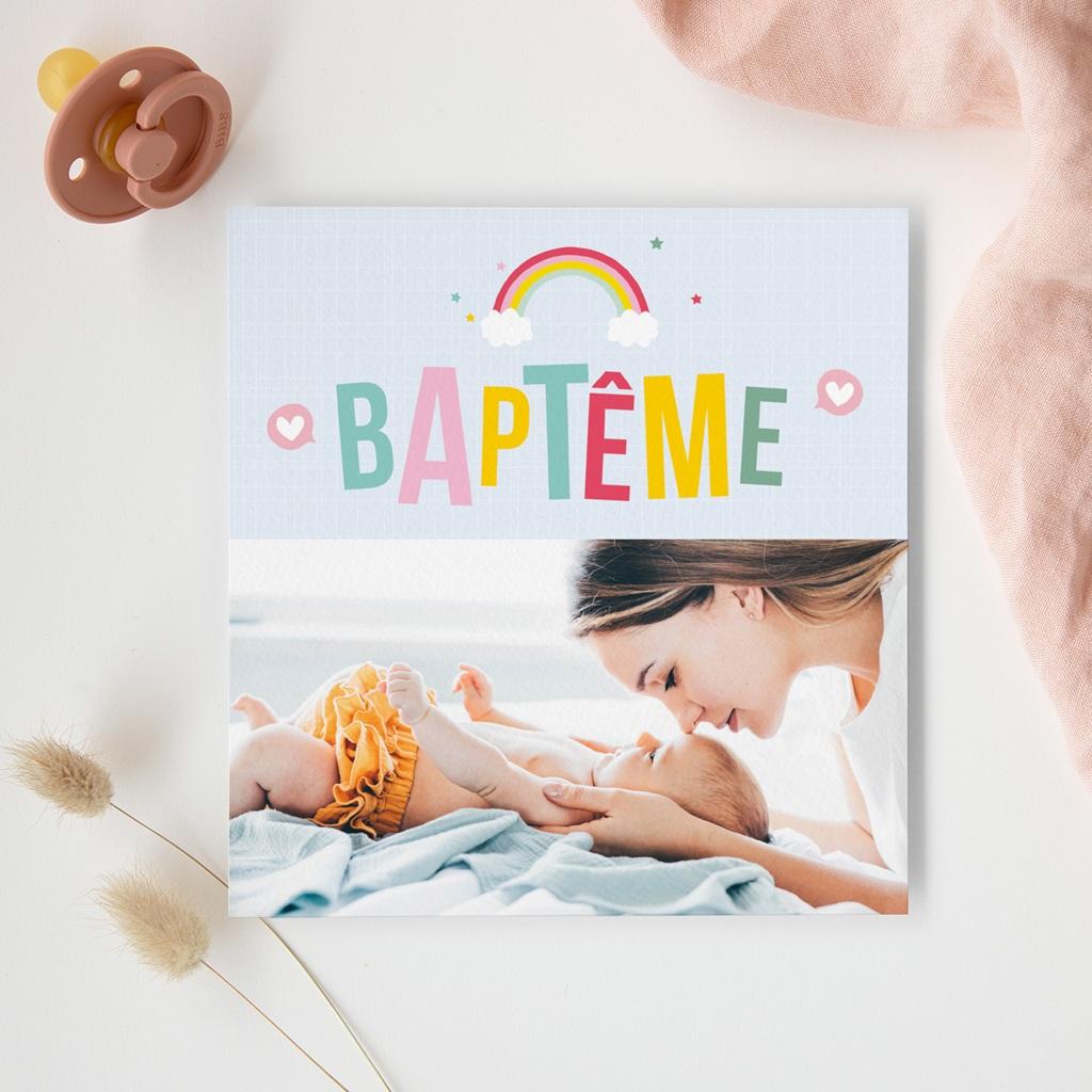 Faire-part de Baptême Happiness gratuit