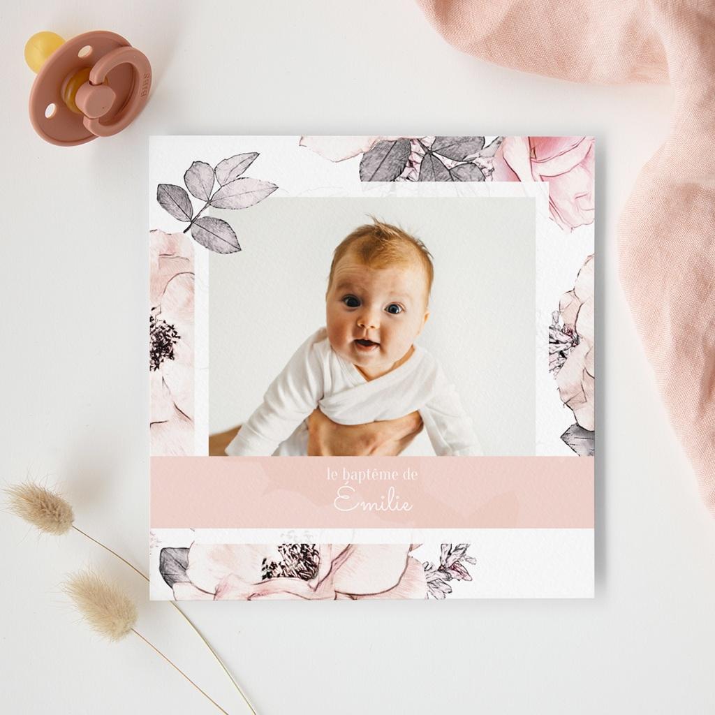 Faire-part de Baptême Lily-Rose gratuit