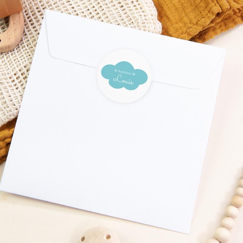 Sticker Enveloppe Baptême Ardoise Fantaisie, Nuage pas cher