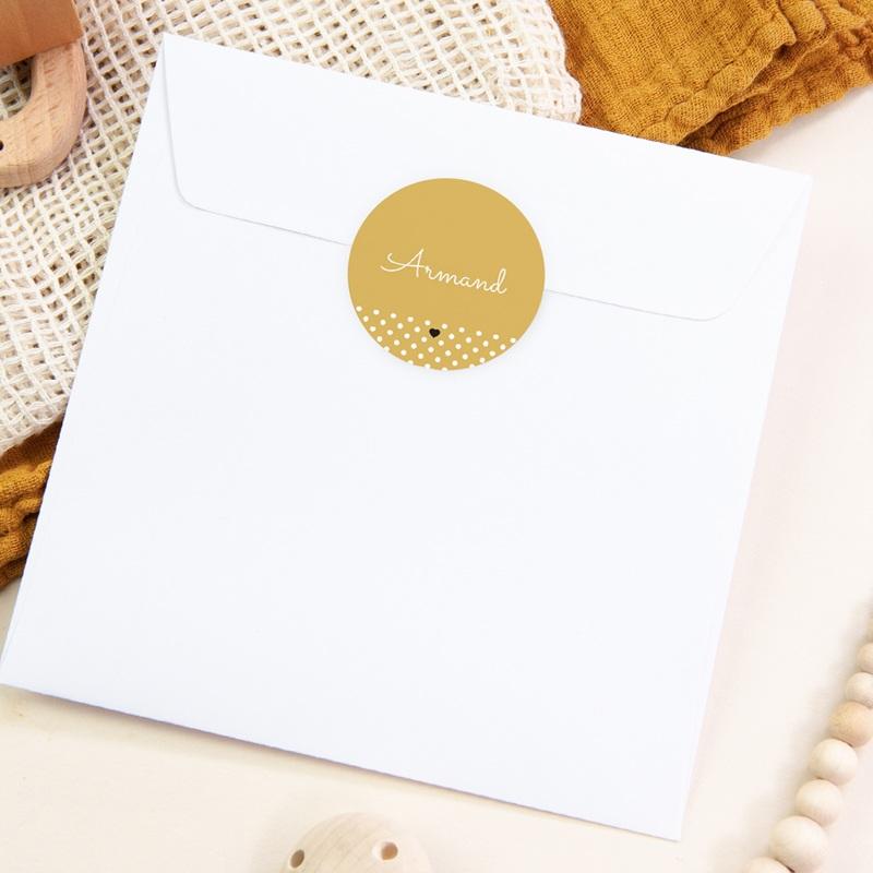 Sticker Enveloppe Naissance Hashtag, jaune moutarde pas cher