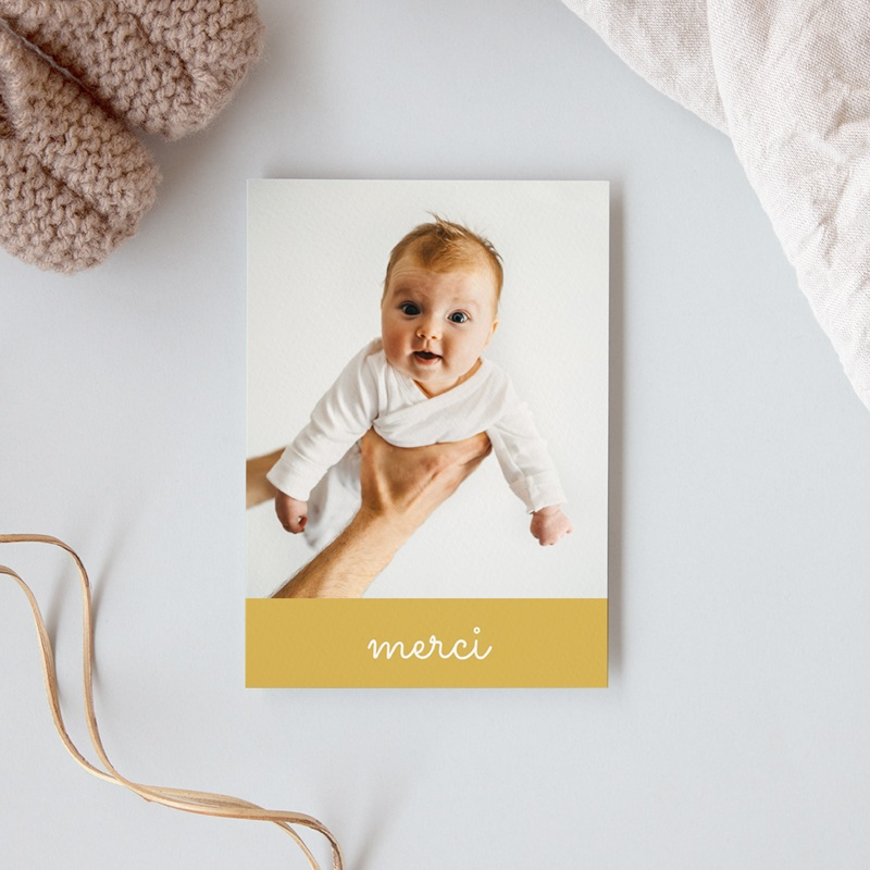 Carte de Remerciement Baptême Hashtag jaune, photo portrait gratuit