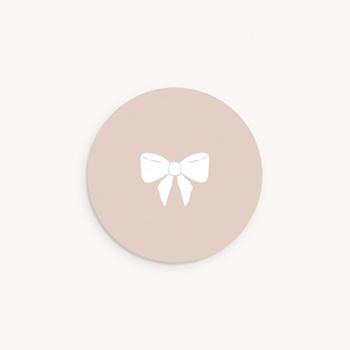 Sticker Enveloppe Baptême Mademoiselle, Noeud poudré original