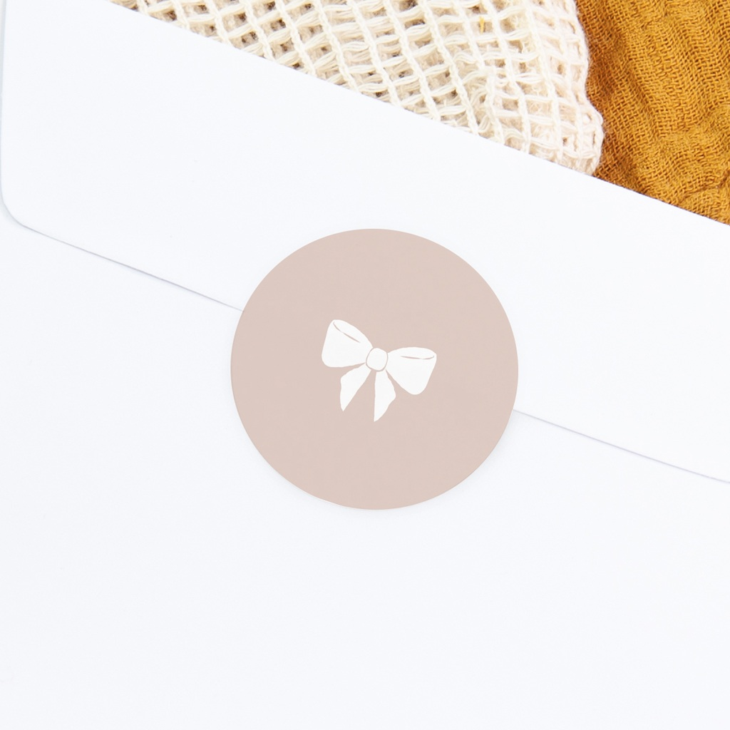 Sticker Enveloppe Baptême Mademoiselle, Noeud poudré gratuit