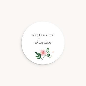 Sticker Enveloppe Baptême Nature Aquarelle, Fleur personnalisé