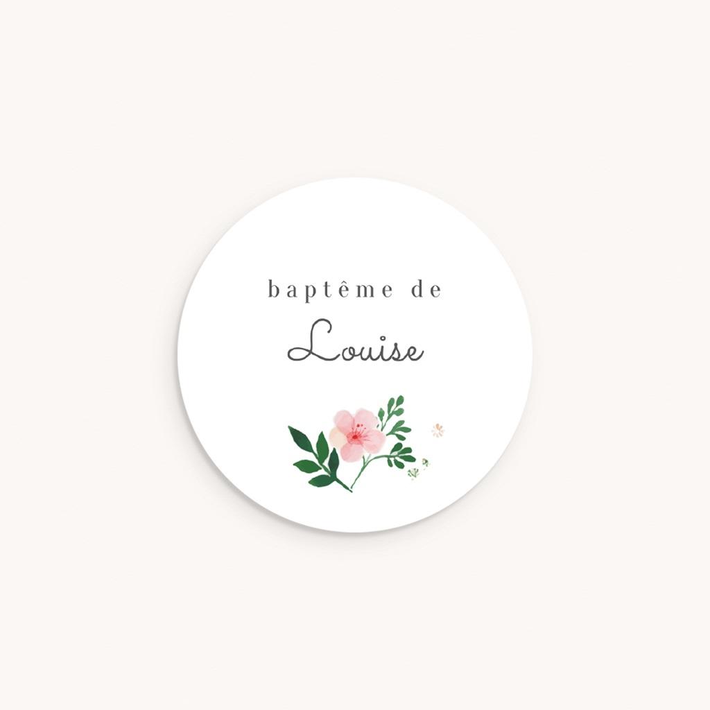 Sticker Enveloppe Baptême Nature Aquarelle, Fleur
