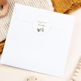 Sticker Enveloppe Baptême Nature Aquarelle, Fleur pas cher