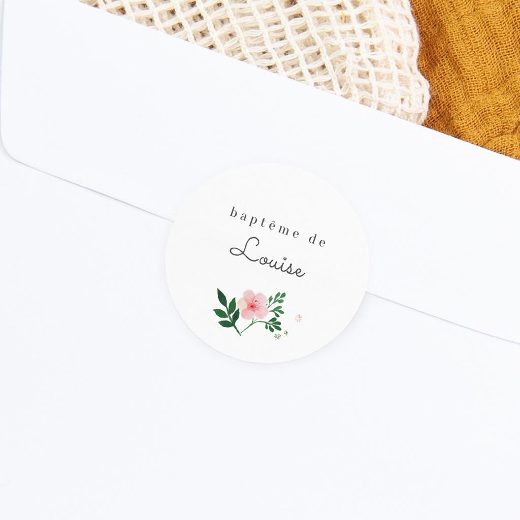 Sticker Enveloppe Baptême Nature Aquarelle, Fleur gratuit