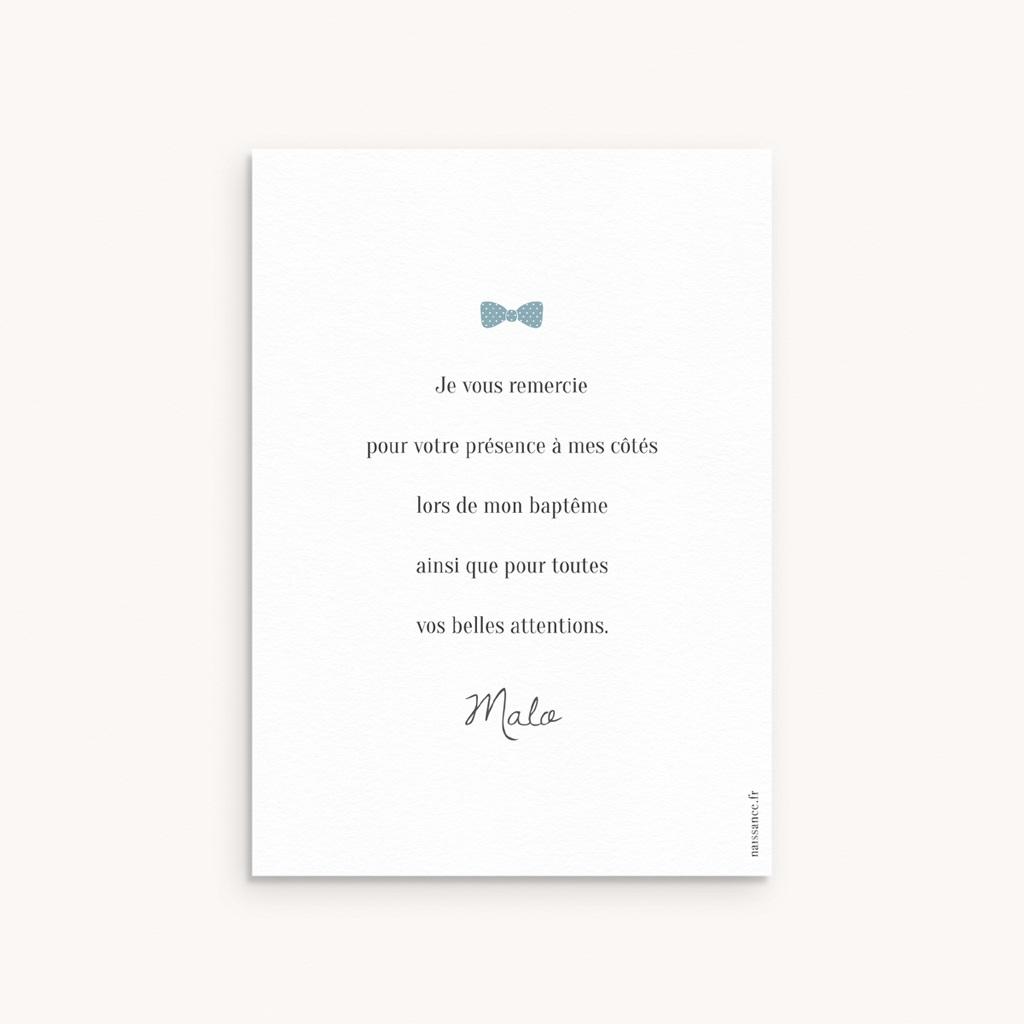 Carte de Remerciement Baptême Petit Gentleman pas cher