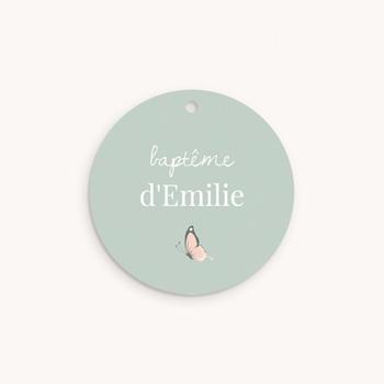 Étiquettes Cadeau Baptême Bisou Papillon, Ourson personnalisé