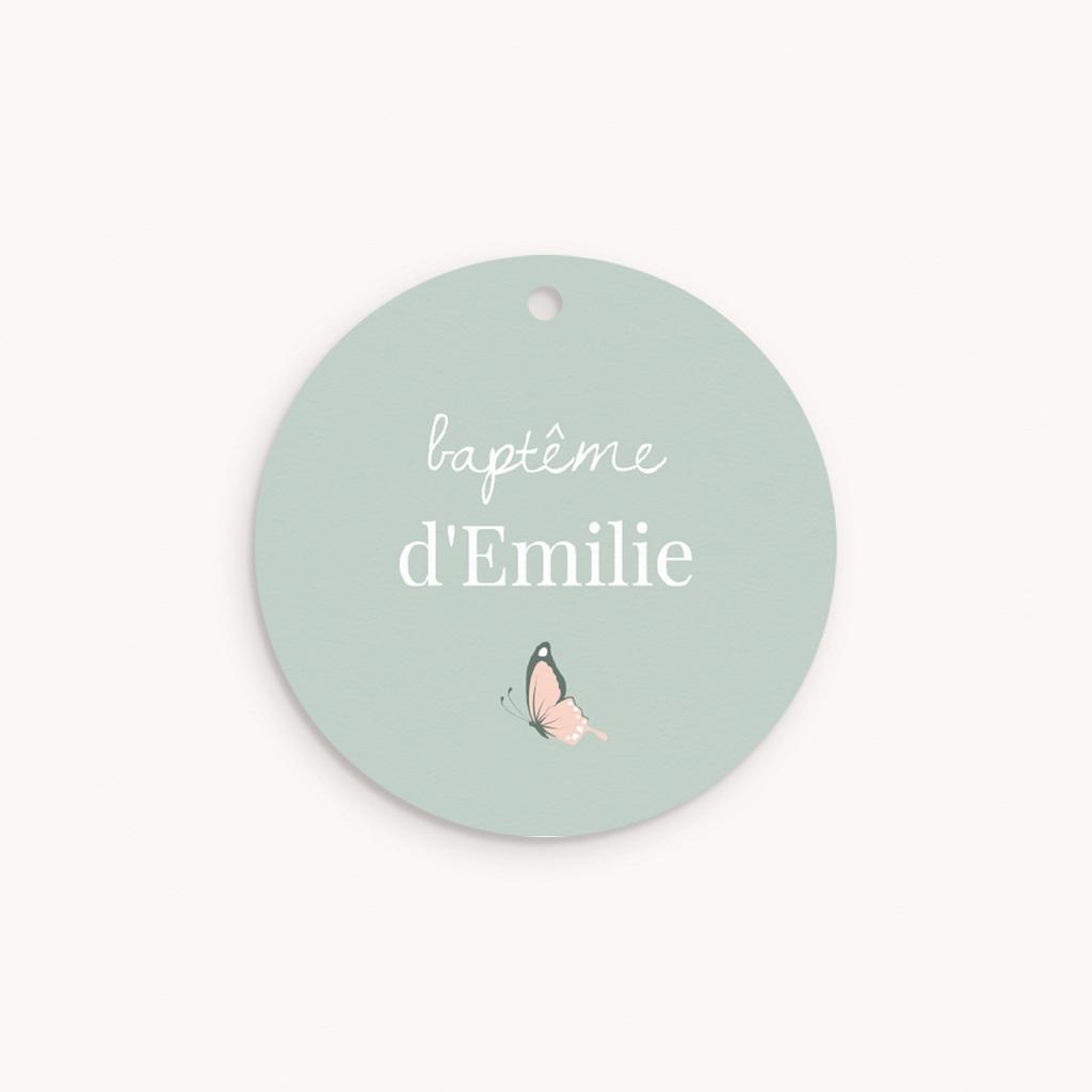 Étiquettes Cadeau Baptême Bisou Papillon, Ourson