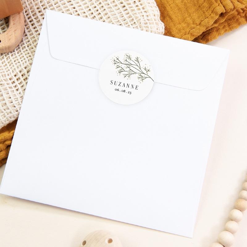 Sticker Enveloppe Naissance Brindilles Baies Beiges pas cher