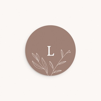 Sticker Enveloppe Naissance Champêtre naturel, Initiale