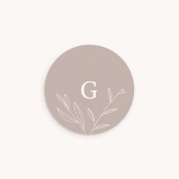 Sticker Enveloppe Naissance Champêtre nude, Initiale
