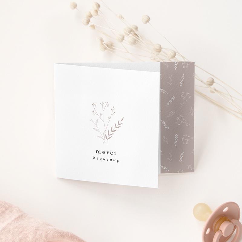 Carte de Remerciement Naissance Champêtre nude, pli décalé gratuit