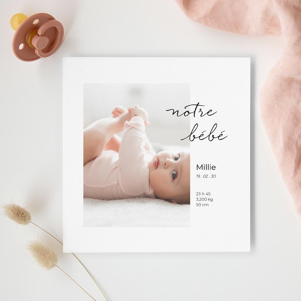 Faire-part de Naissance Notre bébé Fille, portrait gratuit