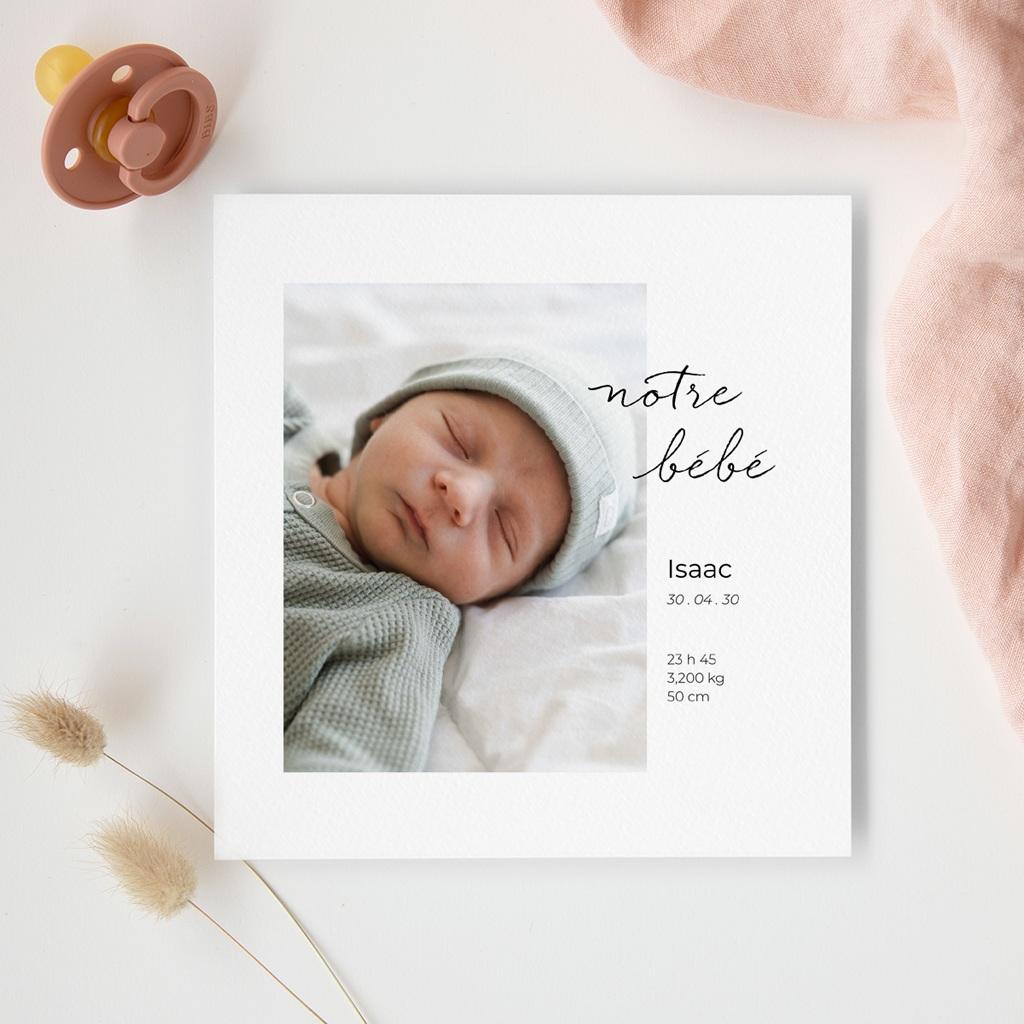 Faire-part de Naissance Notre bébé garçon, portrait gratuit