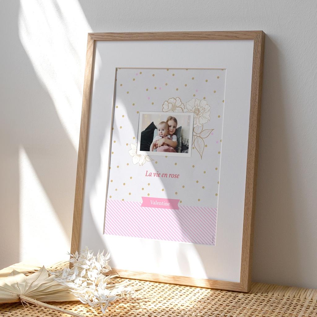 Affiche Déco Chambre Enfant Vie en Rose
