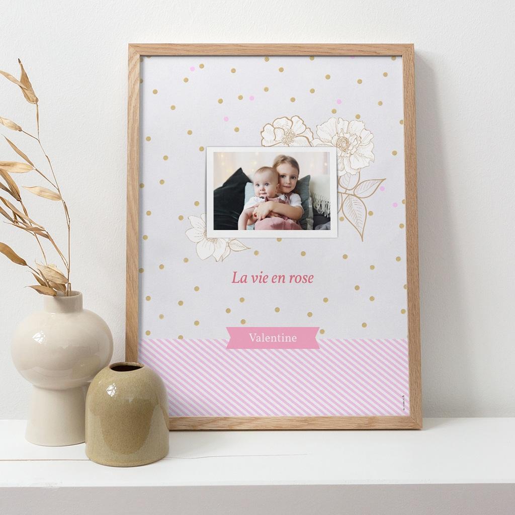 Affiche Déco Chambre Enfant Vie en Rose pas cher