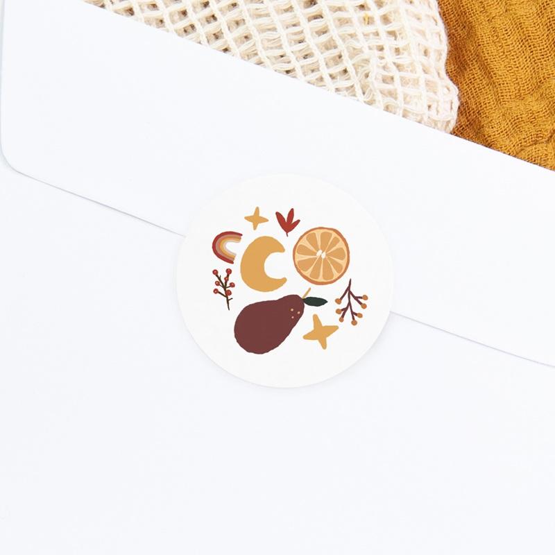 Sticker Enveloppe Naissance Méli Mélo automnal, 4,5 cm