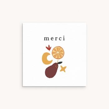 Carte de Remerciement Naissance Méli Mélo automnal, 10 x 10 pas cher
