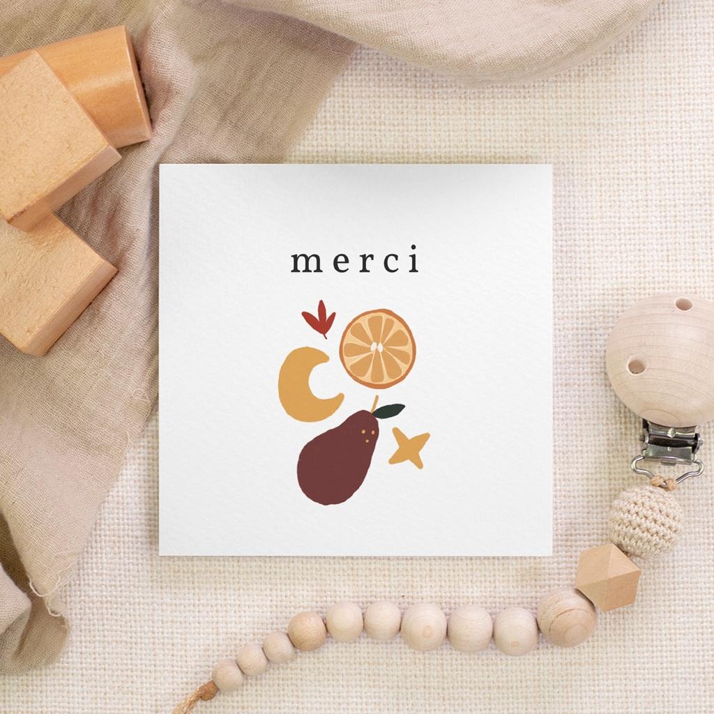 Carte de Remerciement Naissance Méli Mélo automnal, 10 x 10 gratuit