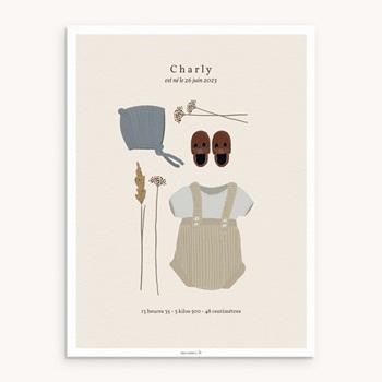 Affiche Déco Chambre Enfant Vestiaire Garçonnet, 30 x 40 pas cher