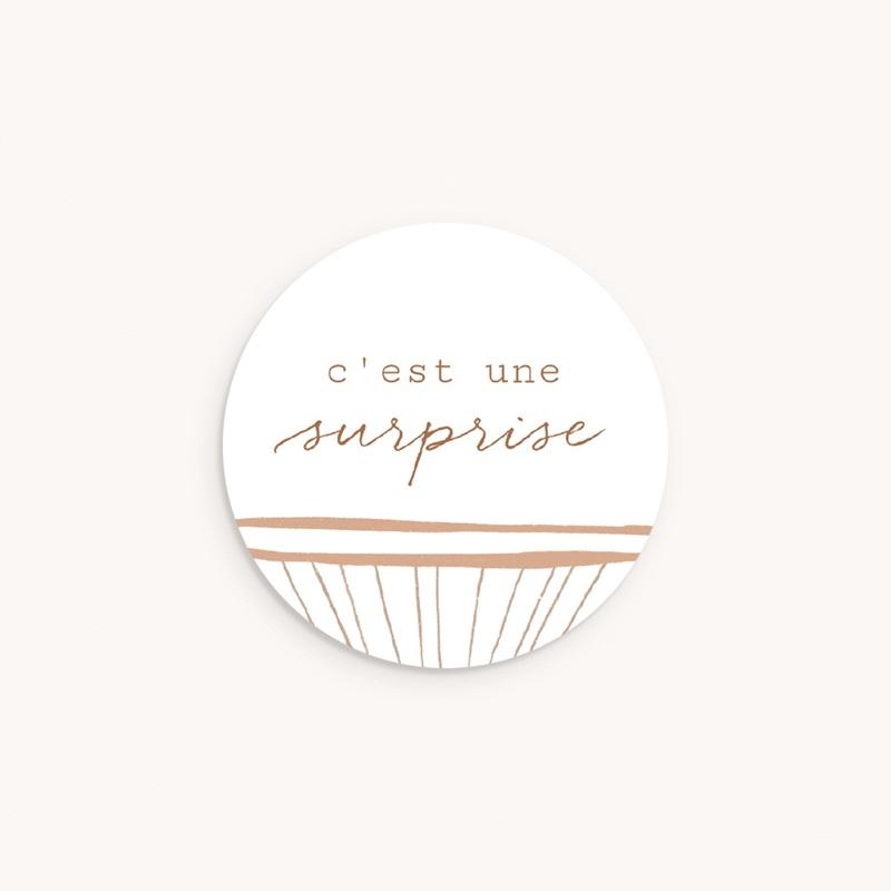 Sticker Enveloppe Naissance Landau en Osier, 4,5 cm