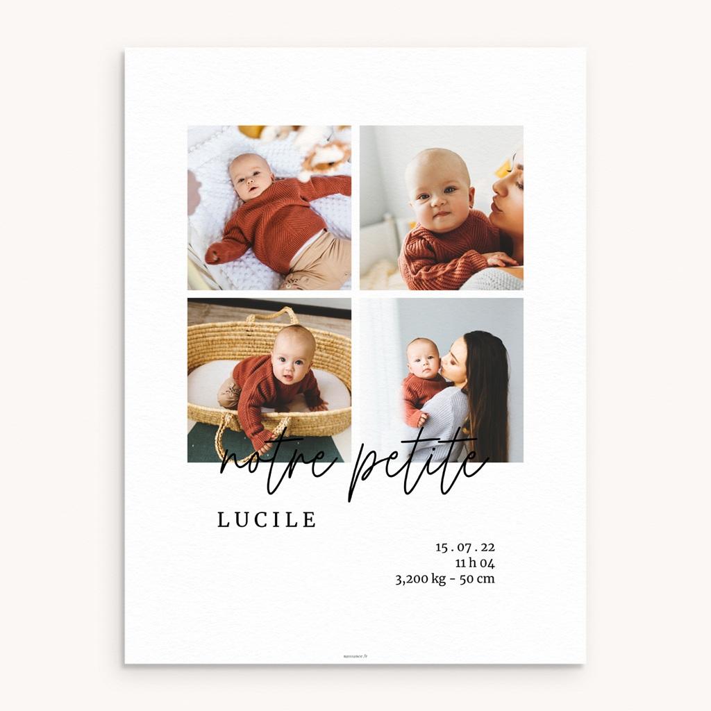 Affiche Déco Chambre Enfant Petite Typo Script, 4 photos