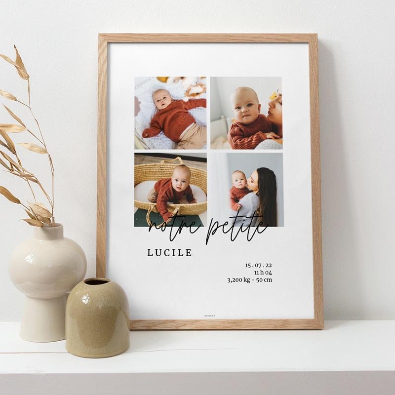 Affiche Déco Chambre Enfant Petite Typo Script, 4 photos pas cher