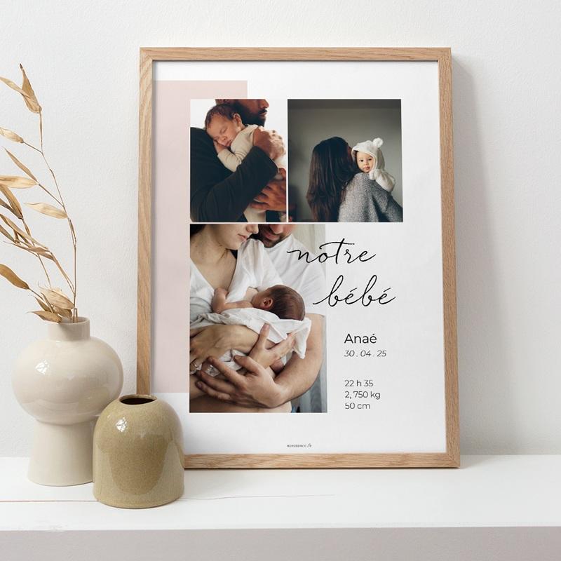 Affiche Déco Chambre Enfant Notre bébé Fille, 30 x 40 pas cher