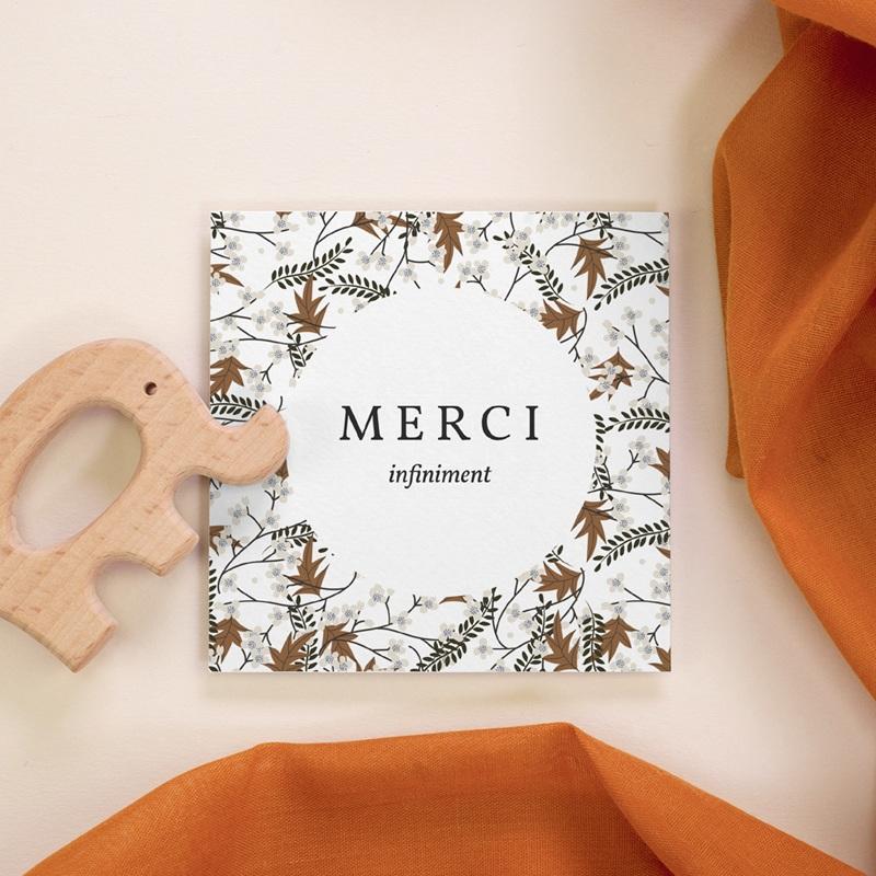 Carte de Remerciement Naissance Liberty motif cerisier, 10 x 10 cm