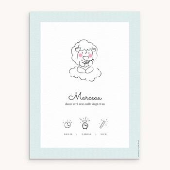 Affiche Déco Chambre Enfant Petit mouton personnalisé