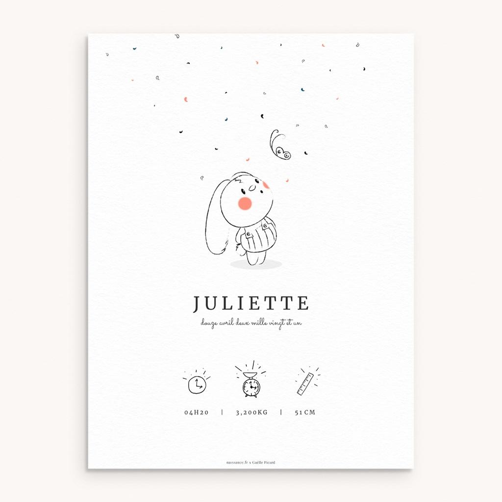 Affiche Déco Chambre Enfant Petit Lapin illustré