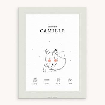 Affiche Déco Chambre Enfant Petit renard personnalisé