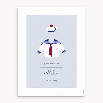 Affiche Déco Chambre Enfant Esprit Marin - Matelot pas cher