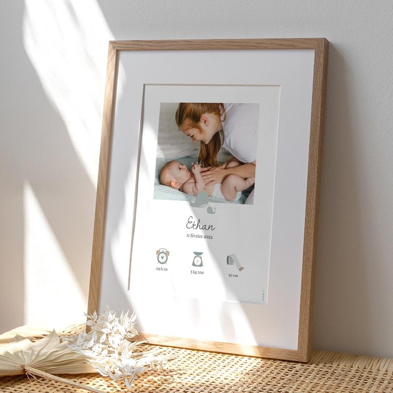 Affiche Déco Chambre Enfant Avec Amour, Baleines vert d'eau