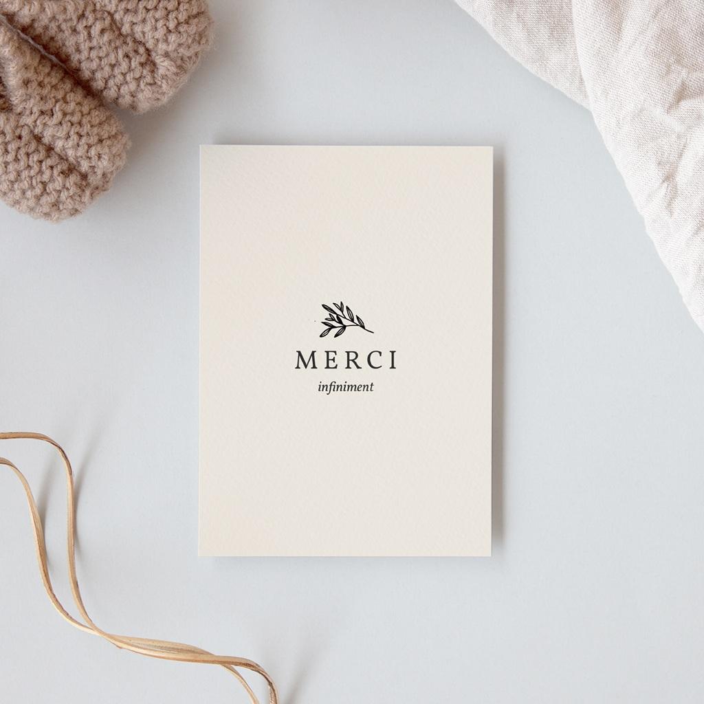 Carte de Remerciement Naissance Brin noir, beige, 10 x 14 cm gratuit