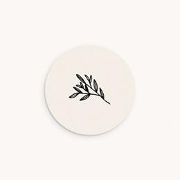Sticker Enveloppe Naissance Brin noir, beige, 4,5 cm
