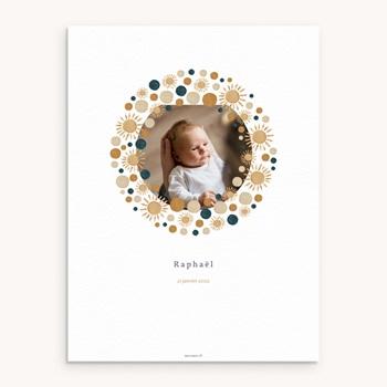 Affiche Déco Chambre Enfant Univers ensoleillé et couronne, 30 x 40