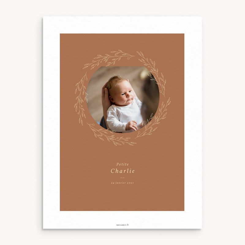 Affiche Déco Chambre Enfant Couronne monochrome Caramel, Photo