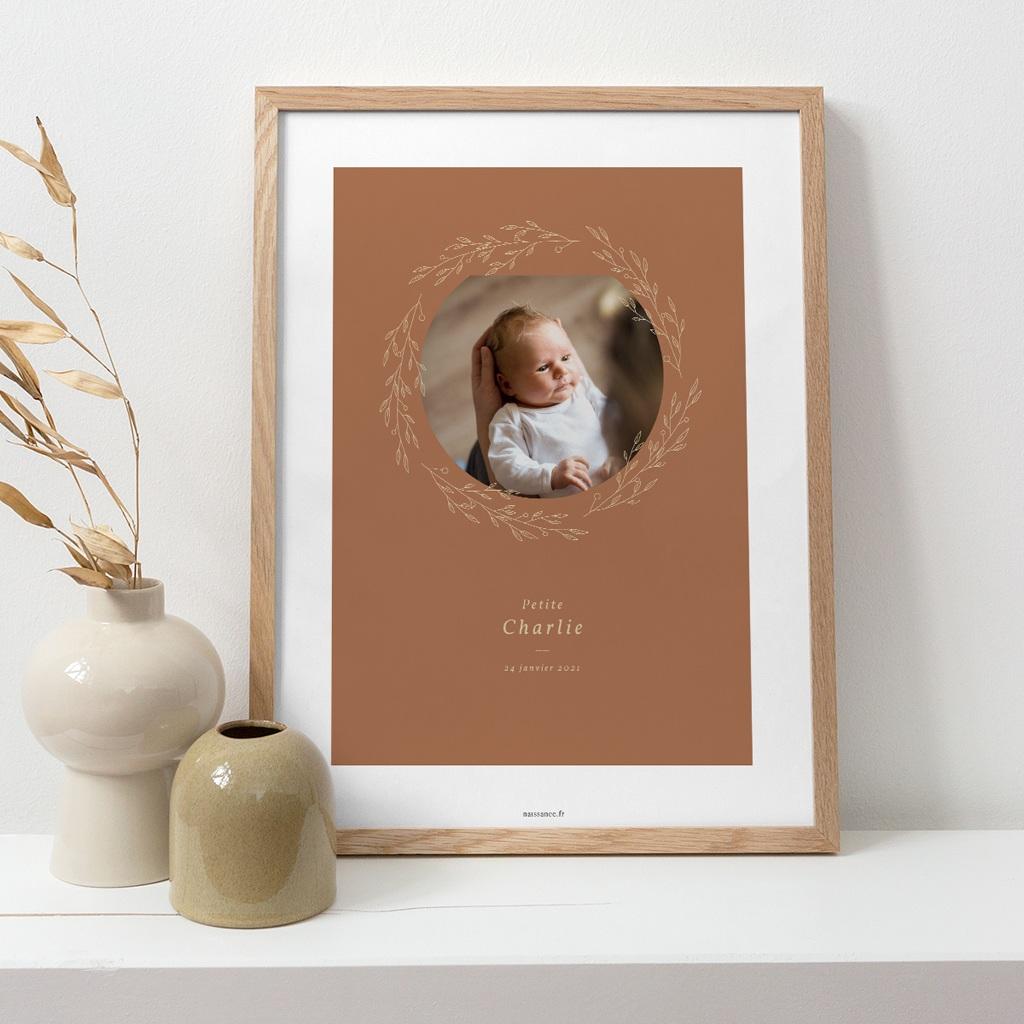 Affiche Déco Chambre Enfant Couronne monochrome Caramel, Photo pas cher