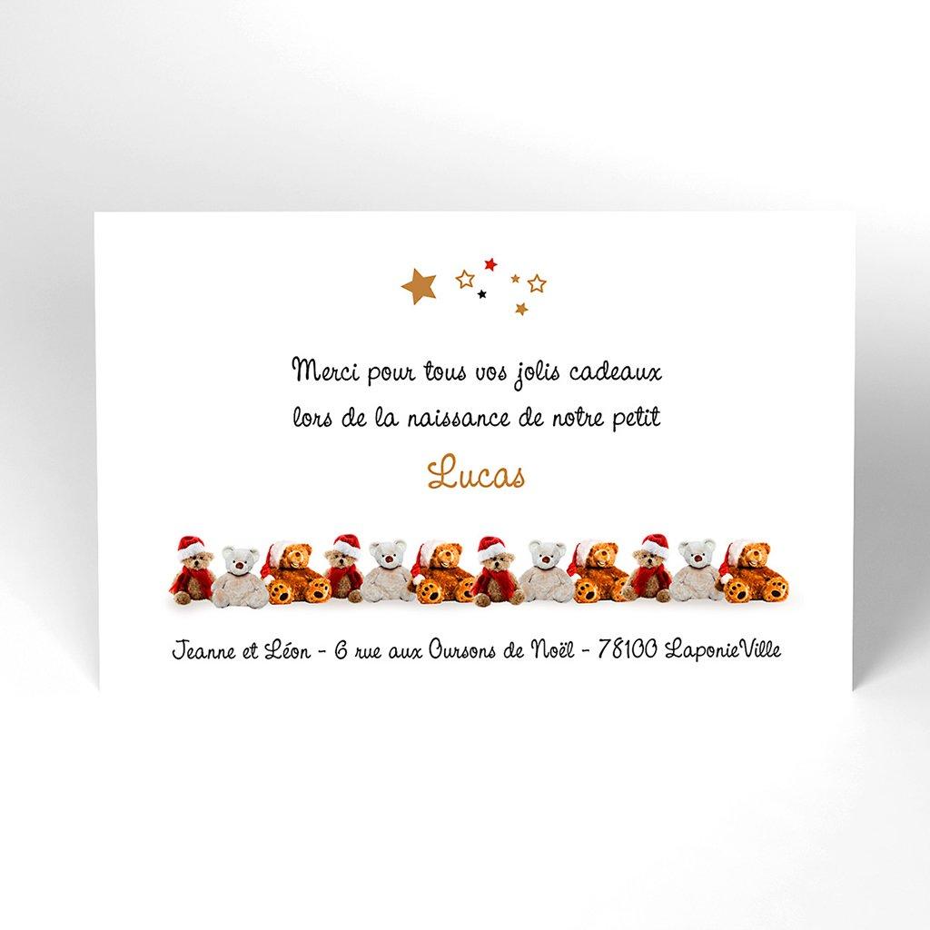 Carte de Remerciement Naissance Ourson de Noël
