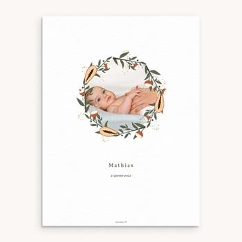 Affiche Déco Chambre Enfant - Couronne exotique, Photo de bébé - 0