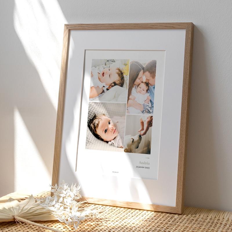 Affiche Déco Chambre Enfant Multiphoto Initiale Sauge