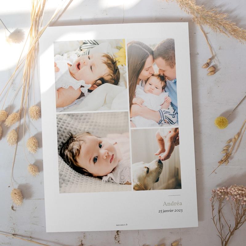 Affiche Déco Chambre Enfant Multiphoto Initiale Sauge gratuit