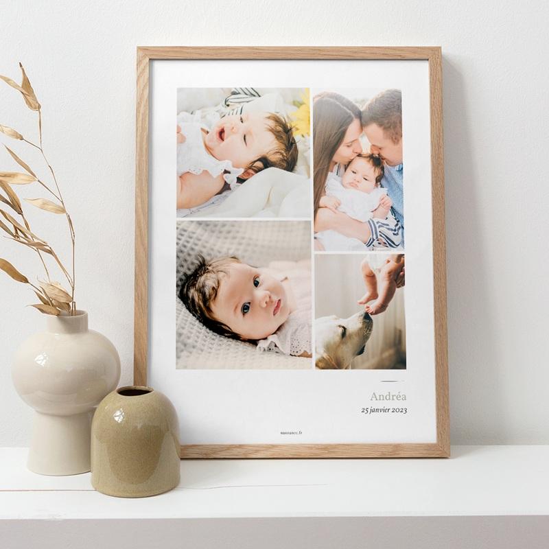 Affiche Déco Chambre Enfant Multiphoto Initiale Sauge pas cher