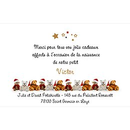 Carte de Remerciement Naissance Ourson de Noël pas cher